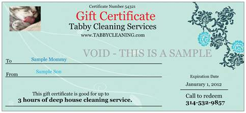 sample of gift certificates